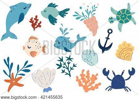 Set Of Marine Fishes, Animals And Plants. Dolphins, Fish, Starfish, Seashells, Seaweed. Marine Theme