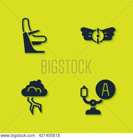 Set Airplane Seat, Aircraft Steering Helm, Storm And Aviation Emblem Icon. Vector
