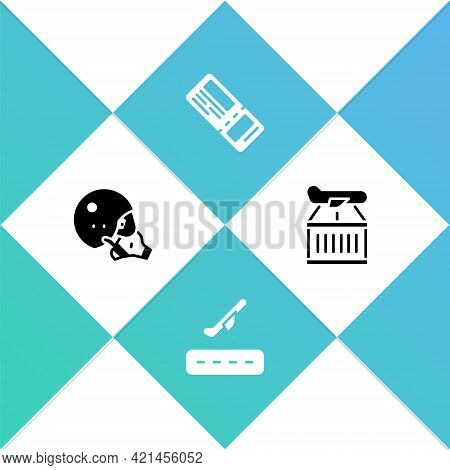 Set Modern Pilot Helmet, Plane Takeoff, Airline Ticket And Icon. Vector