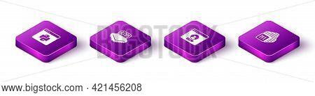 Set Isometric Python Programming Language, Processor, Create Account Screen And Icon. Vector