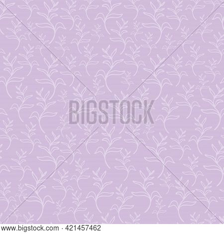 Pastel Lavender Leaves Seamless Patterns Set. Botanical Floral Hand Drawn Lineart Flower Elements. P