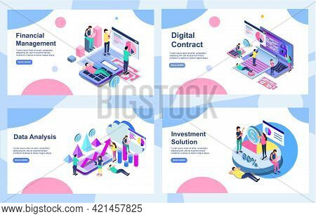 Set Of Landing Page Design Templates For Data Analysis, Digital Contract , Investment Solution And F