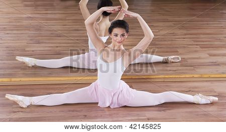 Ballerina training in the gym