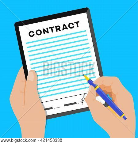Sign Contract Vector Concept. Privacy Policy And Terms And Conditions. Contract Agreement Illustrati
