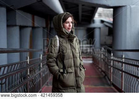 Woman Portrait Confidence Brunette Dressed Warm Winter Jacket Dark Background Dramatic Atmosphere Ca