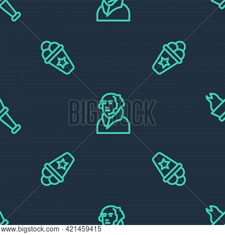 Set Line George Washington, Ice Cream Waffle Cone And Torch Flame On Seamless Pattern. Vector