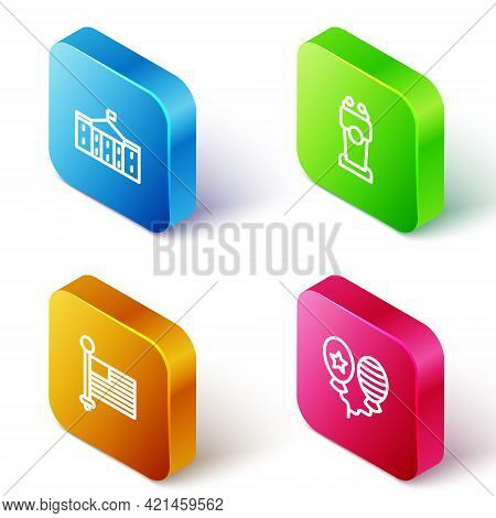 Set Isometric Line United States Capitol Congress, Stage Stand Or Tribune, American Flag And Balloon