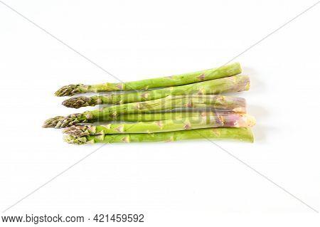 Freshness Asparagus Or Garden Asparagus On White Background. Vegetable Raw, Uncook Ingredient. Top V