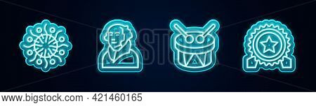 Set Line Firework, George Washington, Drum And Drum Sticks And Medal With Star. Glowing Neon Icon. V