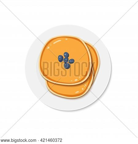 Pancakes With Blueberries On Plate. Delicious Breakfast. Vector Illustration Isolated On White. Happ