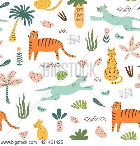 Safari Kids Pattern. Funny Jungle Seamless Pattern. Palm Trees, Safari Leopard, Tiger, Cactus Doodle