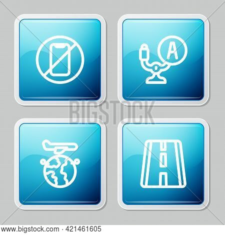 Set Line No Cell Phone, Aircraft Steering Helm, Globe With Flying Plane And Airport Runway Icon. Vec