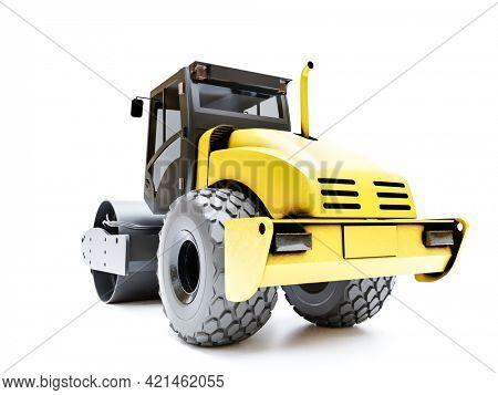 3d rendering of asphalt compactor model on white background