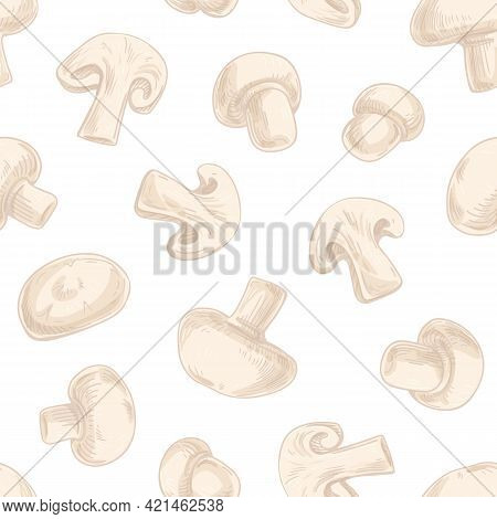 Seamless Pattern With Champignon Slices On White Background. Endless Repeatable Texture With Mushroo