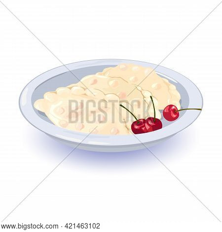 Yummy Aromatic Ukrainian Dish Made With Dough, Served With Fresh Juicy Cherry Berries. Vector Homema