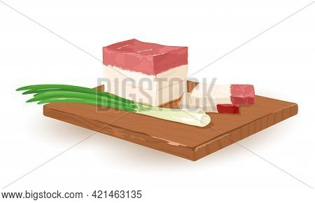 Appetizing Piece Of Lard Served On Wooden Board With Spring Onion. Vector National Ukrainian Food, E
