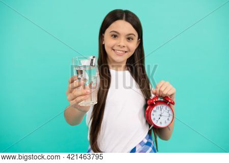 Morning. Drinking Per Day. Be Hydrated. Kid Hold Glass And Clock. Child Feel Thirsty.