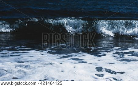 Sea Surface. Blue Water Texture. Close Up Blue Water Surface At Deep Ocean