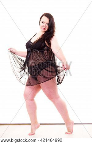 Fat Adult Woman Wearing Black Lace Lingerie Nightwear. Plus Size Female In Full Length. Big Body, Un