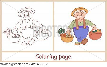 Cute Farmer Character. Grandpa With Two Baskets Of Crops. Harvesting Vegetables. Line Art. Coloring