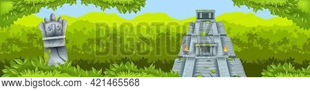 Maya Pyramid Jungle Vector Background, Ancient Aztec Temple Ruin, Tropical Rainforest Silhouette, To