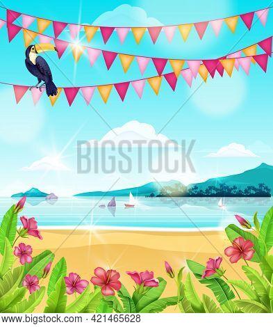 Beach Party Landscape, Vector Tropical Summer Ocean Background, Shore Sand, Water, Island, Toucan. A