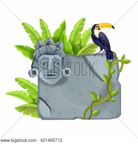 Stone Sign Board, Vector Cartoon Game Rock Design Element, Cracked Granite Tablet, Toucan, Totem Fac