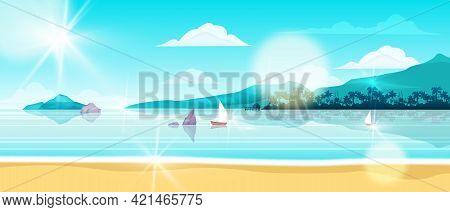 Summer Beach Landscape, Vector Ocean Island Background, Shore Sand, Sailing Boat, Island, Palm Silho