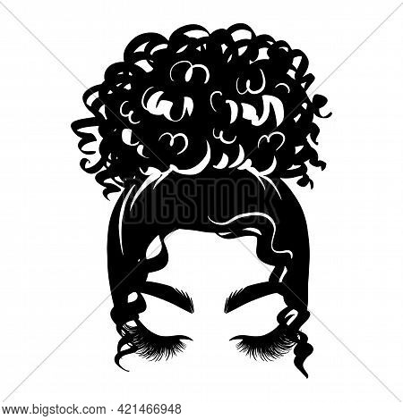 Afro Messy Hair Bun, Long Black Lashes. Vector Woman Silhouette With Beautiful Eyelashes. Female Cur