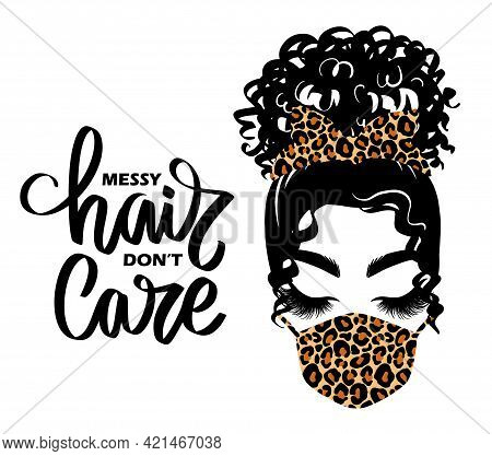 Afro Messy Hair Bun, Long Black Lashes, Bandana And Face Mask With Leopard Print. Vector Woman Illus