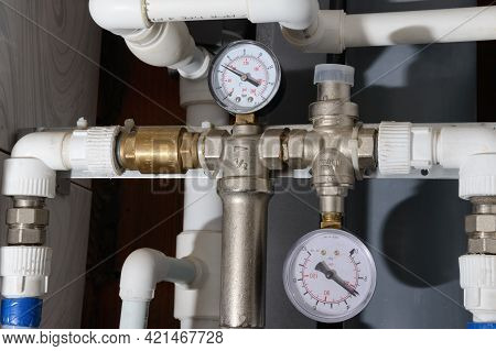 Water Supply Pipes With Pressure Gauges, Valves And Check Valve
