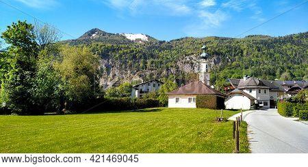 St. Gilgen, Austria - May  19, 2019: It Is A Small Old Austrian Town In The Salzkammergut Lake Distr