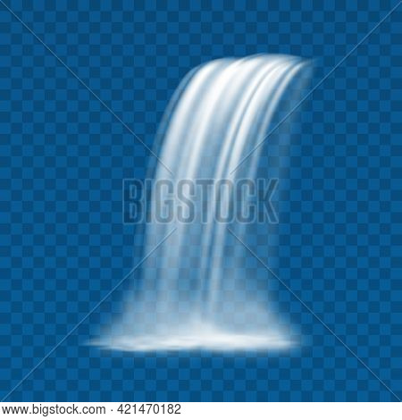 Waterfall Streaming Falling Water Realistic Design Vector Illustration On Transparent Background. Fl