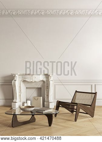 Beige-white Classic Interior With Fireplace, Lounge Chair And Decor. 3d Render Illustration Mock Up.