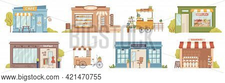 City Street Buildings Facade Exterior Isolated Retail Local Businesses. Vector Cafe And Bakery Shop,