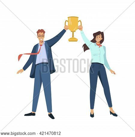 Couple Of Man And Woman Winners Holding Golden Goblet Above Heads Isolated Flat Cartoon Characters.