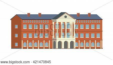 University, Collage Or School Building Isolated Flat Cartoon Icon. Vector Campus, Retro Library, Gov