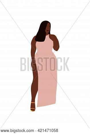 Curvy Abstract Black Woman Posing In Dress. Modern Plus Size Female Portrait. Trendy Vector Illustra
