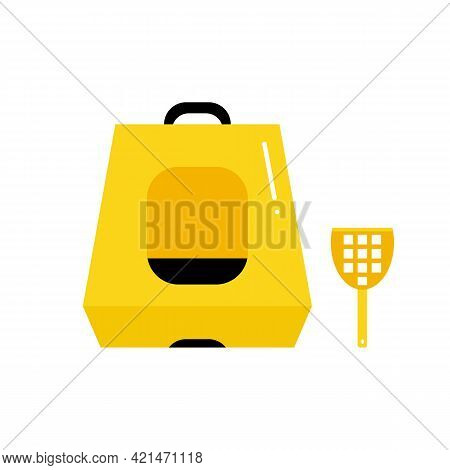 Cute Cartoon Style Cat Hooded Litter Box With Plastic Shovel. Vector Icons, Illustration.
