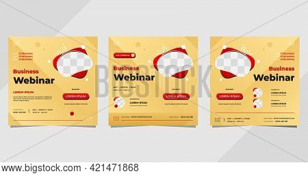 Set Of Business Webinar Social Media Post Template With Geometric Shape And Cream Background, Suitab