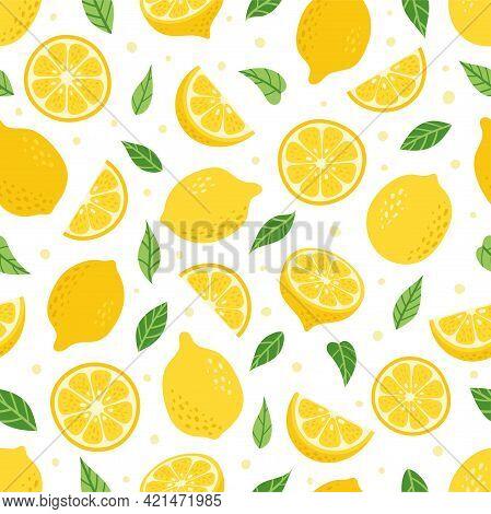 Cute Vector Lemon Tropical Seamless Pattern. Cartoon Summer Fresh Fruit Slice, Green Leaves, Half Sl