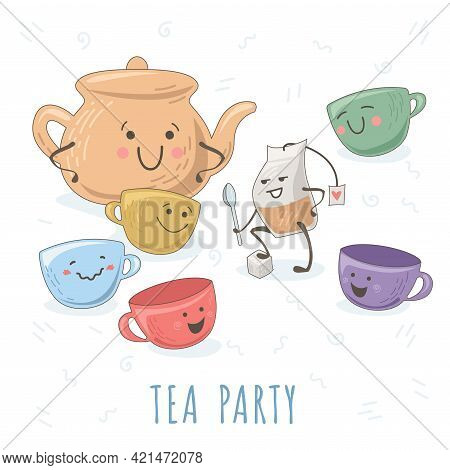 Illustrations With Funny Dishes. Brave Tea Bag Telling Story To Teapot And Teacups. Cute Images Of C