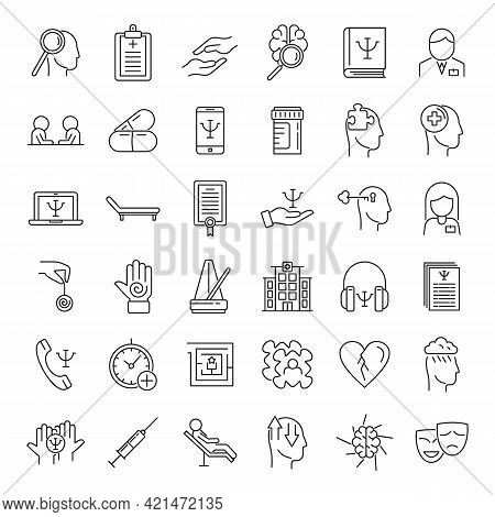 Supporting Mental Health Icons Set. Outline Set Of Supporting Mental Health Vector Icons For Web Des