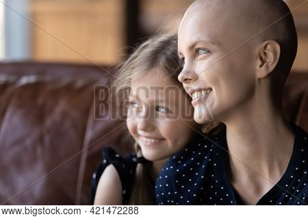 Happy Young Hairless Woman Fighting Against Cancer