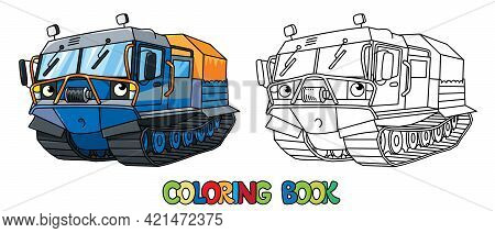 Funny Rover Car. Amphibious Vehicle Coloring Book