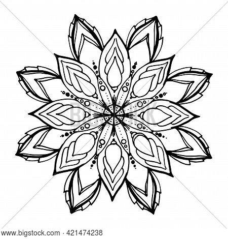 Hand-drawn Vector Mandala. Mandala Round Floral, Stylized Symmetrical Pattern Of Petals With A Black