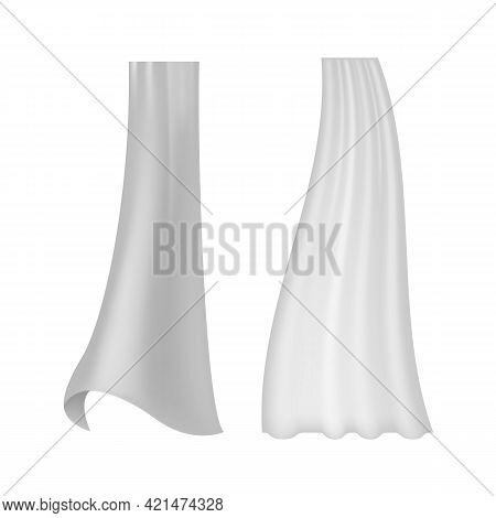 Curtain Transparent. Realistic Wavy White Drapery Flowing Textile, Interior Fabric, Decor For Window