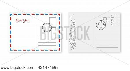 Postcard Valentines. Vintage Romantic Cards With Postage Stamp, Happy Valentine Day Greeting Letter,