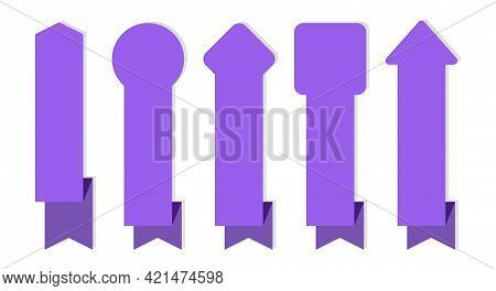 Ribbon Banner. Purple Ribbons Different Forms Collection, Wavy Blank Tapes, Empty Satin Decorative L
