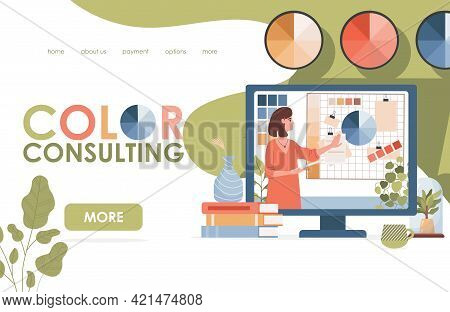 Color Consulting Vector Flat Landing Page Template. Young Pretty Woman Showing Paint Or Color Templa